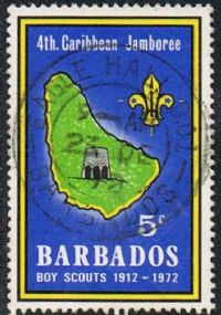 Barbados SG444 1972 Diamond Jubilee of Scouts 5c good/fine used